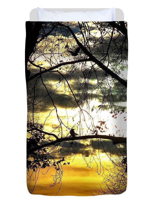 Bird In Tree Duvet Cover featuring the photograph Dream At Dusk by Gothicrow Images