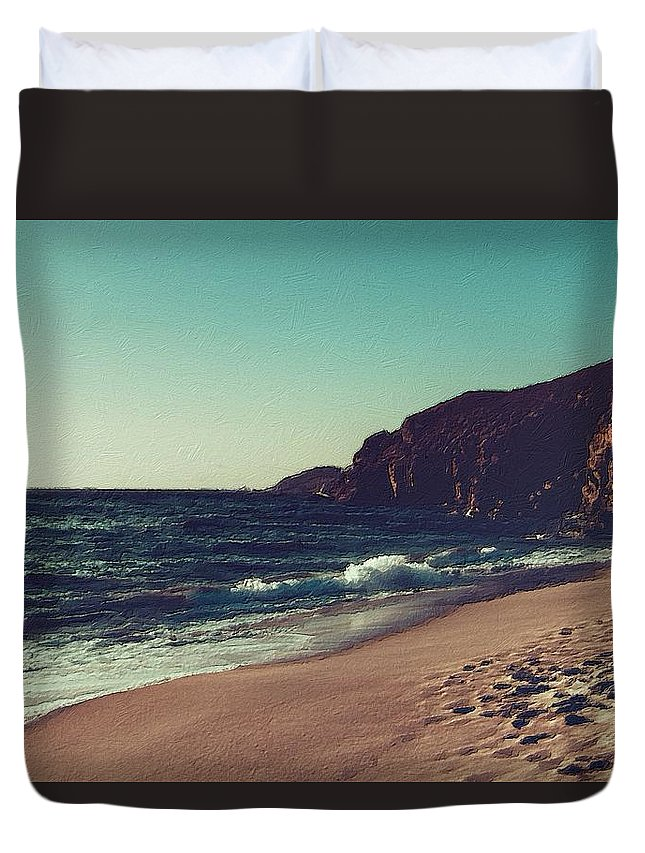 Sea Duvet Cover featuring the painting Dream By The Sea by Florian Rodarte