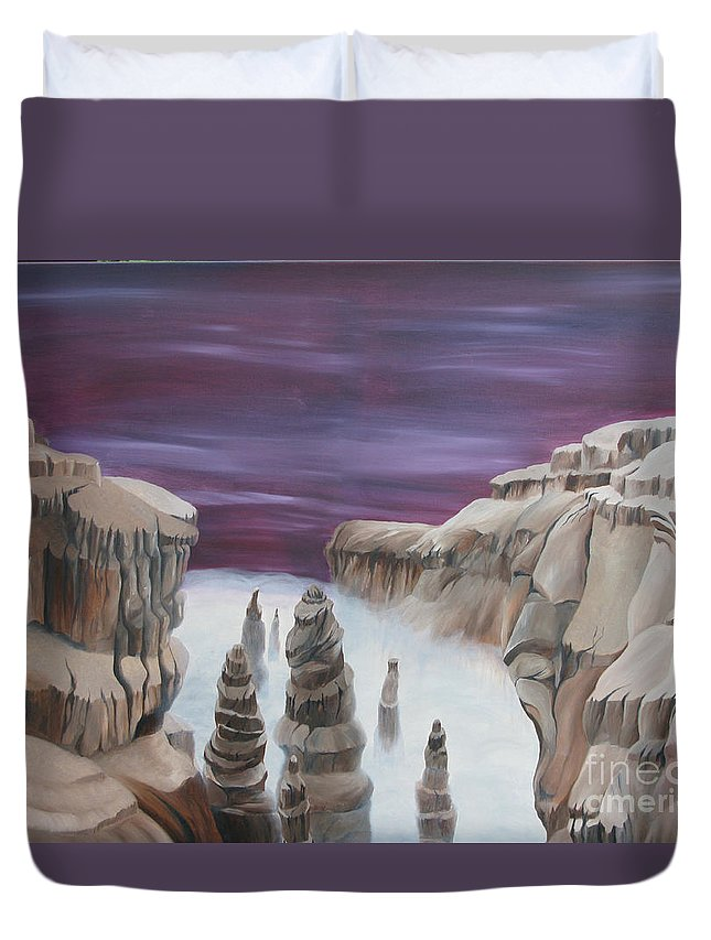 Sureal Duvet Cover featuring the painting Dream Canyon by Richard Dotson