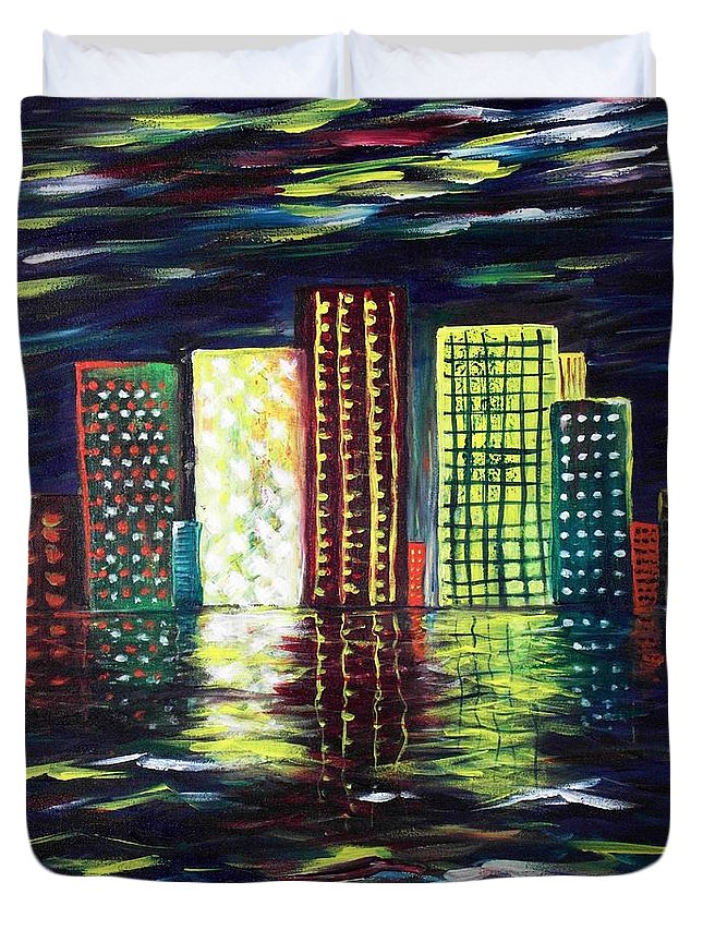 Skyline Duvet Cover featuring the painting Dream City by Anastasiya Malakhova