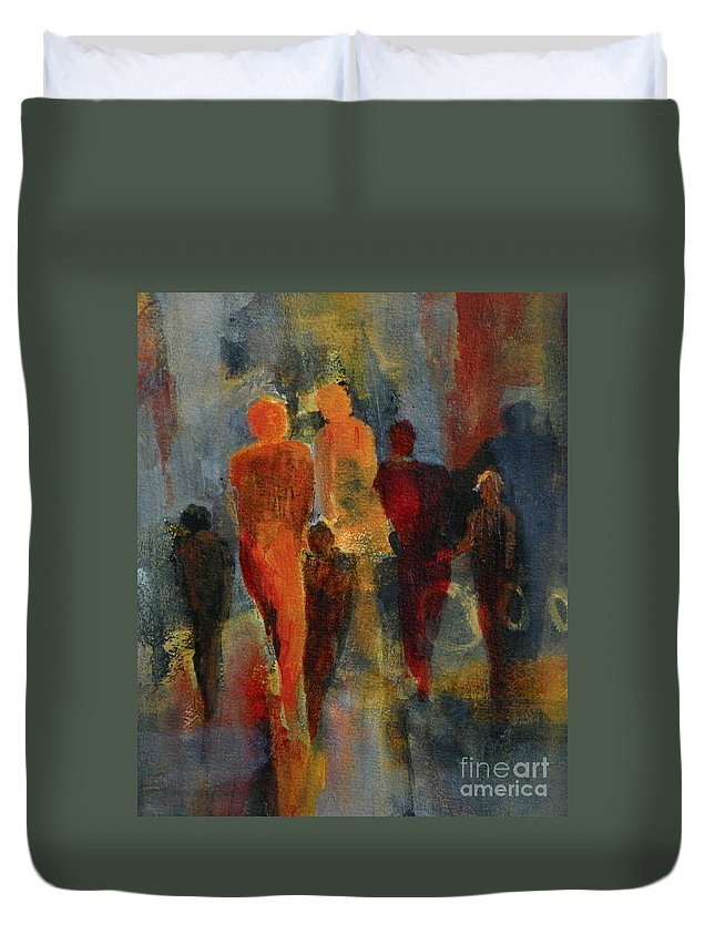 Abstract Expressionism Duvet Cover featuring the painting Dream Drifters by Donna Frost