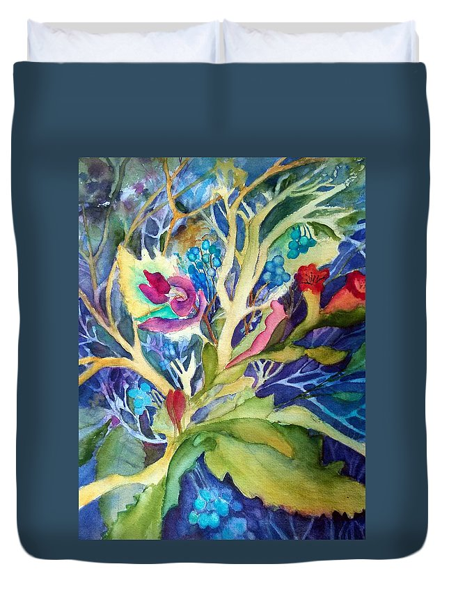 Fantasy Duvet Cover featuring the painting Dream Foliage by Judy Hopkins