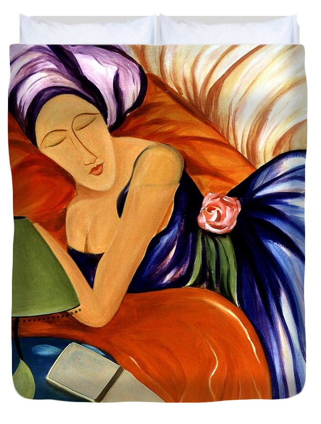 #female Duvet Cover featuring the painting Dream by Jacquelinemari