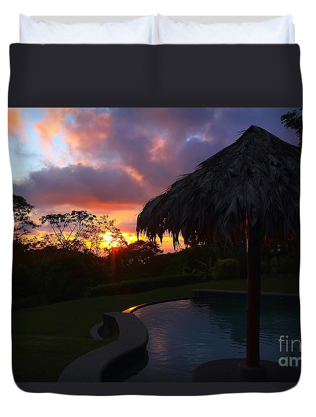 Sunset Duvet Cover featuring the photograph Dream Sunset In Costa Rica by Teresa Zieba
