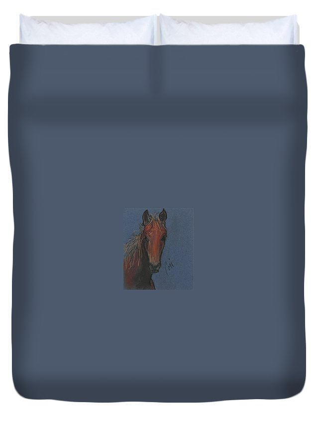 Horse Duvet Cover featuring the drawing Dream Watcher by Cori Solomon