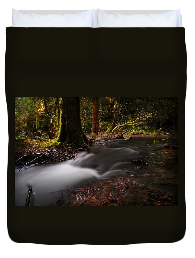 Nature Duvet Cover featuring the digital art Dreaming Forest by William Horden