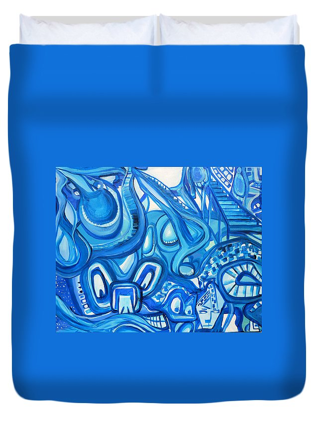 Surreal Duvet Cover featuring the painting Dreaming In Blue by Larry Calabrese