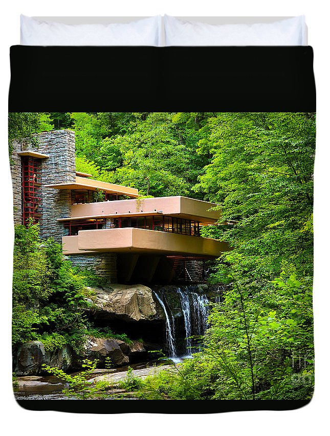 Dreaming Of Fallingwater Duvet Cover featuring the photograph Dreaming Of Fallingwater 4 by Rachel Cohen