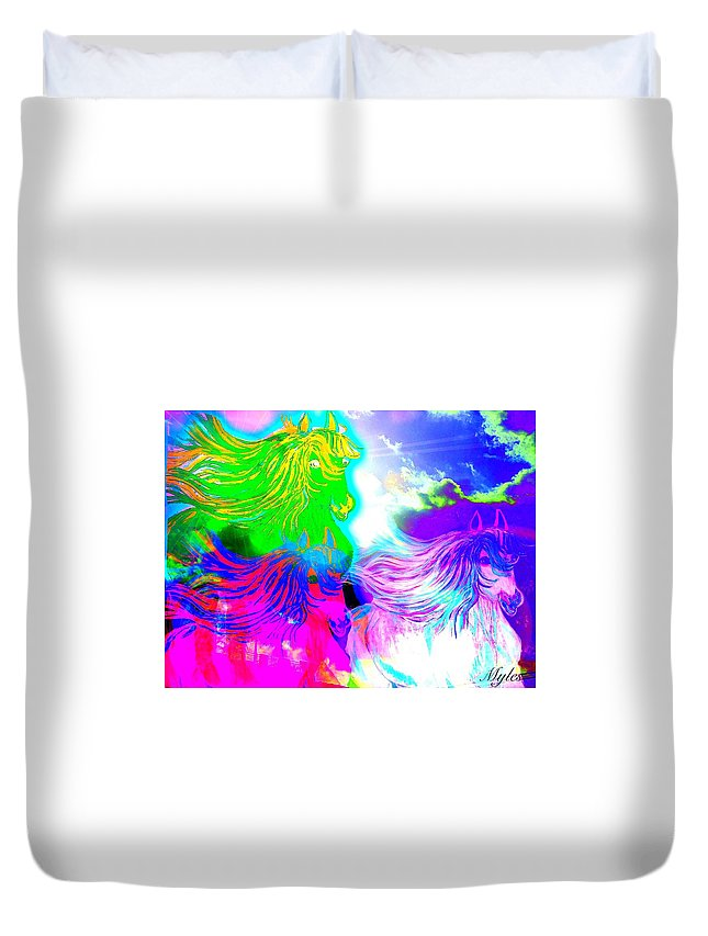 Horses Duvet Cover featuring the painting Dreaming Of Rainbow Horses by Saundra Myles