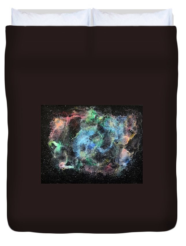 Space Duvet Cover featuring the painting Dreamscape Series #4 by Wendy Anderson