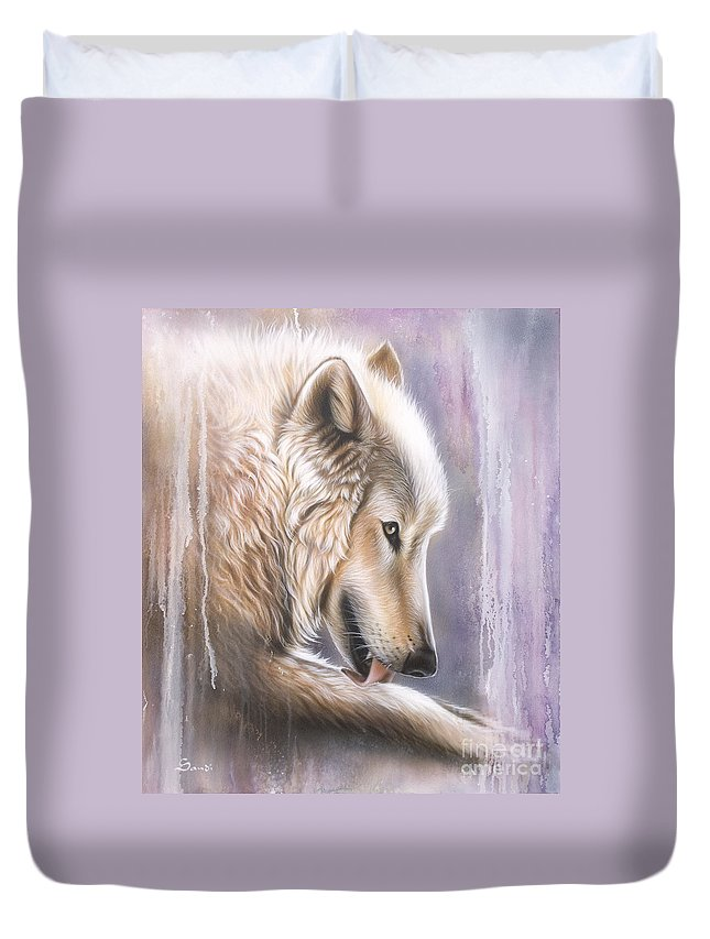 Wolf Duvet Cover featuring the painting Dreamscape Wolf IIII by Sandi Baker