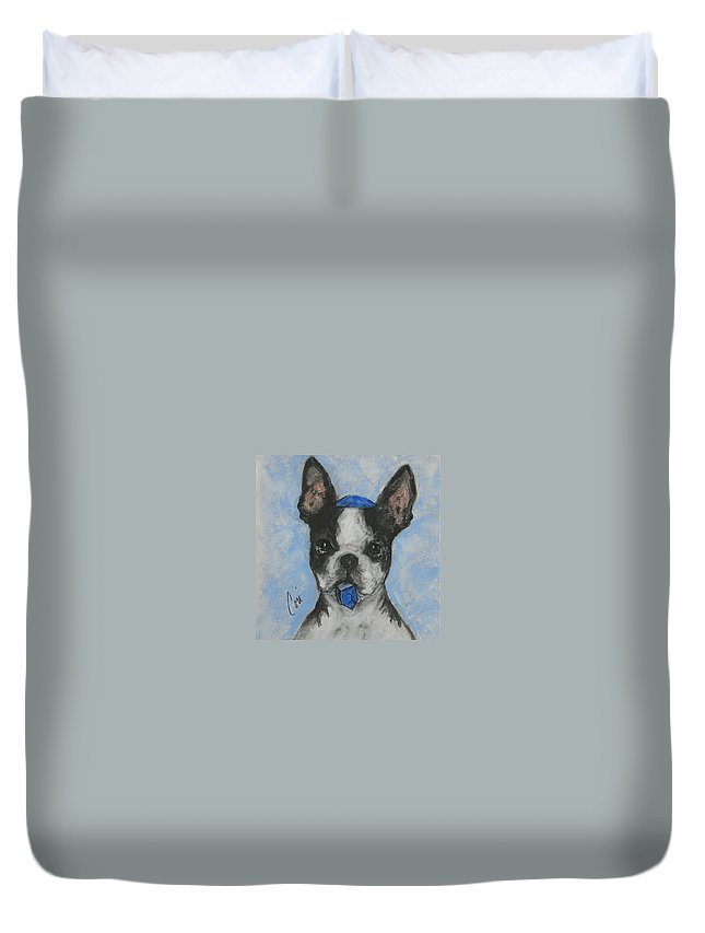 Boston Terrier Duvet Cover featuring the drawing Dreideler by Cori Solomon