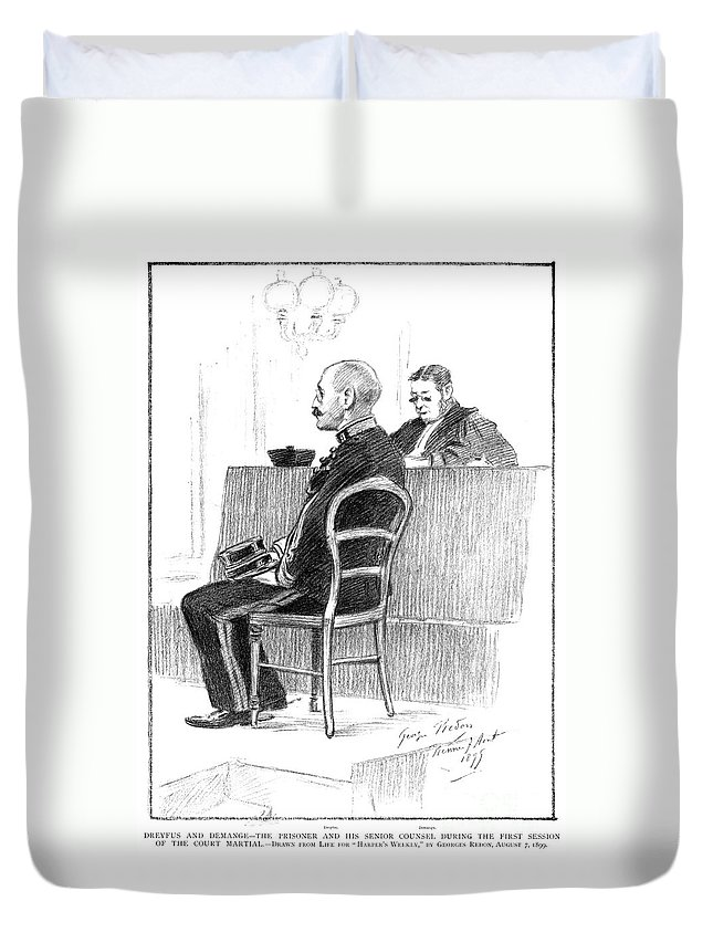 1899 Duvet Cover featuring the drawing Dreyfus Affair 1899 by Granger