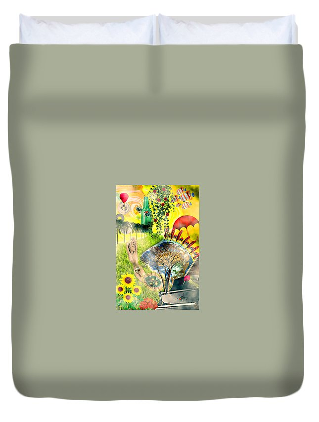 Surreal Duvet Cover featuring the mixed media Drifting Away by Ally White