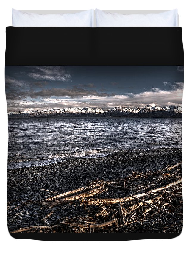 Alaska Duvet Cover featuring the photograph Driftwood At Land's End by Michele Cornelius