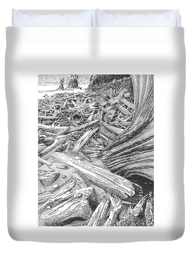 Find The Critter? Duvet Cover featuring the drawing Critter In The Driftwood by Jack Pumphrey