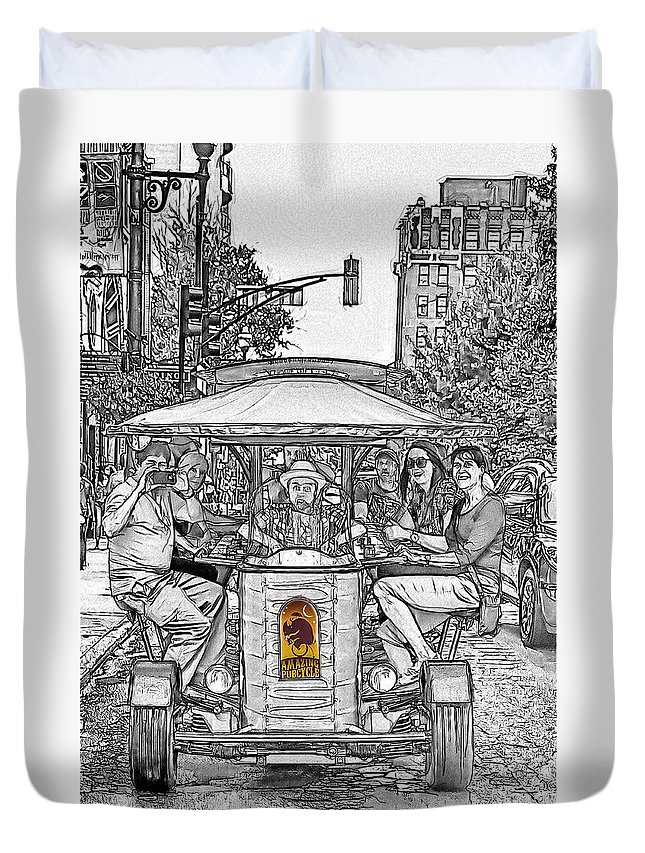 Drinking Duvet Cover featuring the drawing Drinking And Driving by John Haldane