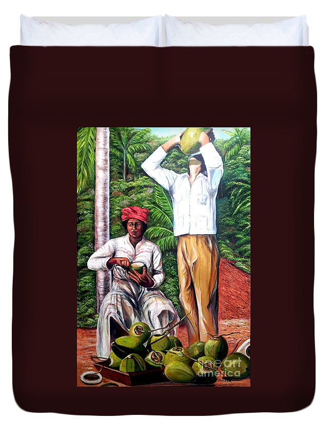 Coconut Duvet Cover featuring the painting Drinking coconut water by Jose Manuel Abraham