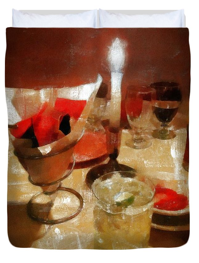 Restaurant Duvet Cover featuring the painting Drinks Before Dinner by RC DeWinter