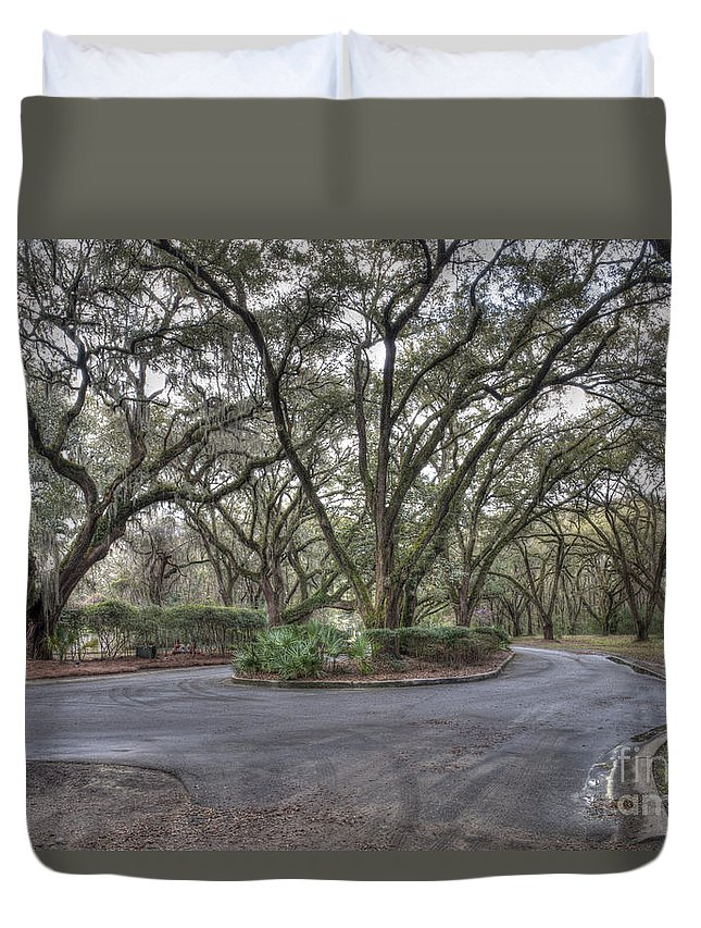 Live Oak Tree Duvet Cover featuring the photograph Drive Around by Dale Powell