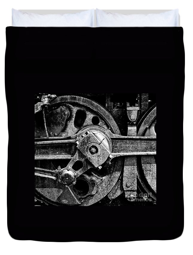 Railroad Duvet Cover featuring the photograph Drive Wheel - 190 - Bw by Paul W Faust - Impressions of Light