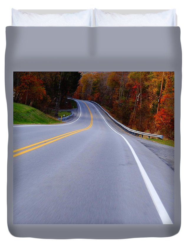 Driving Through Fall Duvet Cover featuring the photograph Driving Through Fall by Dan Sproul