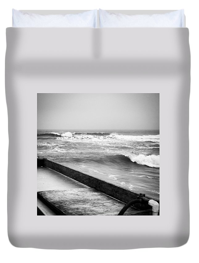 Ocean Duvet Cover featuring the photograph Dropping Bombs by Tyson Kinnison