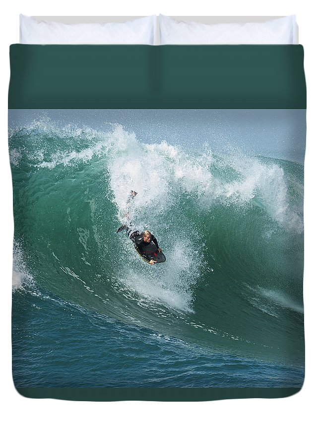 California Beach Duvet Cover featuring the photograph Dropping In by Duncan Selby