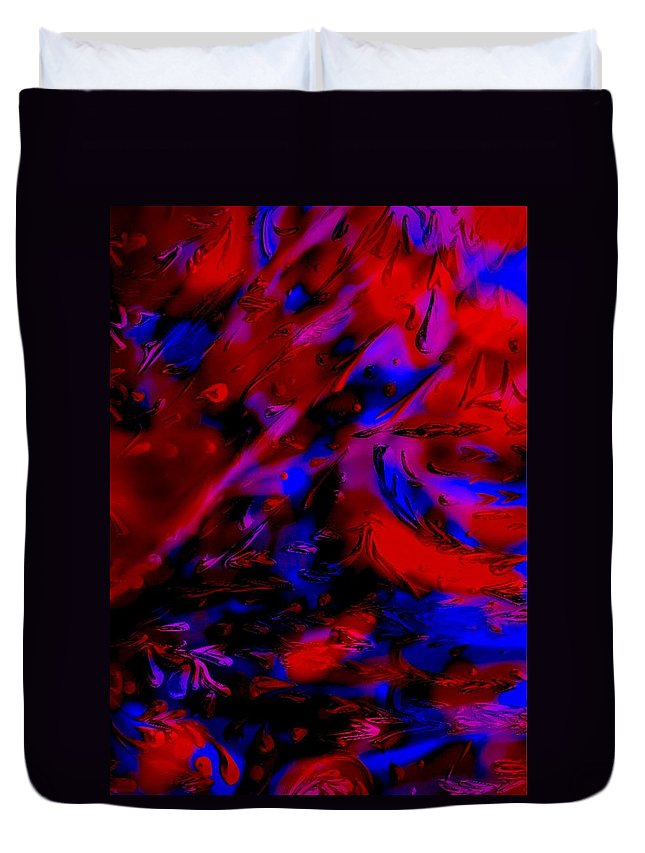 Abstract Duvet Cover featuring the painting Drops by Karen Harding