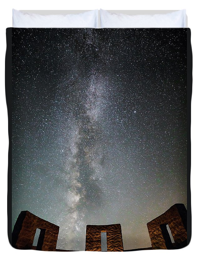 Druids At Stonehenge Duvet Cover featuring the photograph Druids At Stonehenge by Wes and Dotty Weber