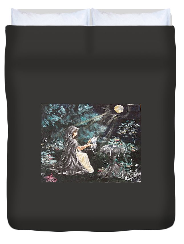 Duvet Cover featuring the painting Druid's Meditation by Katerina Naumenko