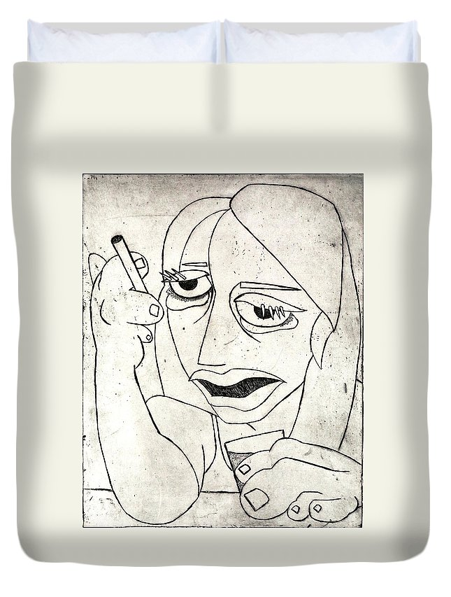 Clay Duvet Cover featuring the relief Drunk Girl by Thomas Valentine