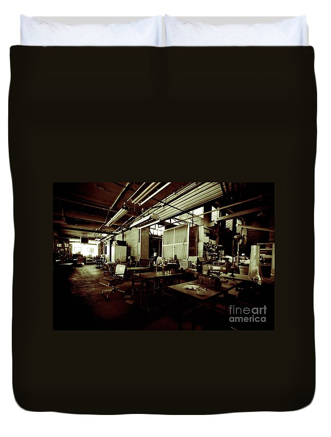 Alterations Duvet Cover featuring the photograph Dry Cleaning Plant by Amy Cicconi