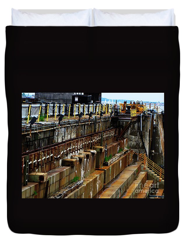 Uss Constitution Duvet Cover featuring the photograph Dry Dock by Ron Tackett