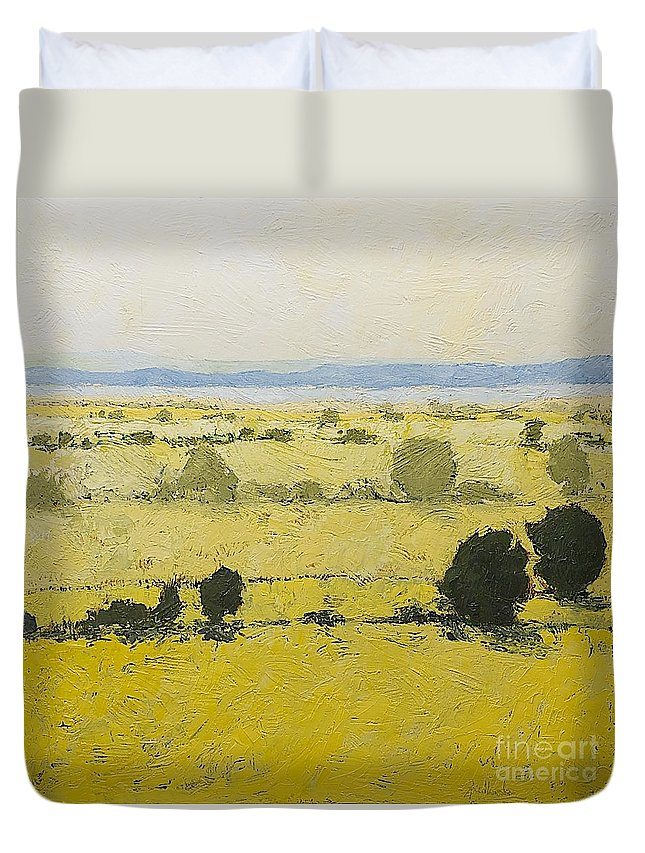 Landscape Duvet Cover featuring the painting Dry Grass by Allan P Friedlander