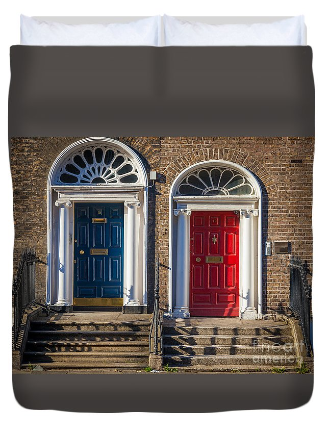 Architecture Duvet Cover featuring the photograph Dual Doors by Inge Johnsson
