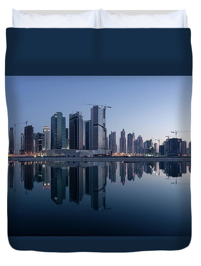 Tranquility Duvet Cover featuring the photograph Dubai Business Bay Skyline With by Spreephoto.de