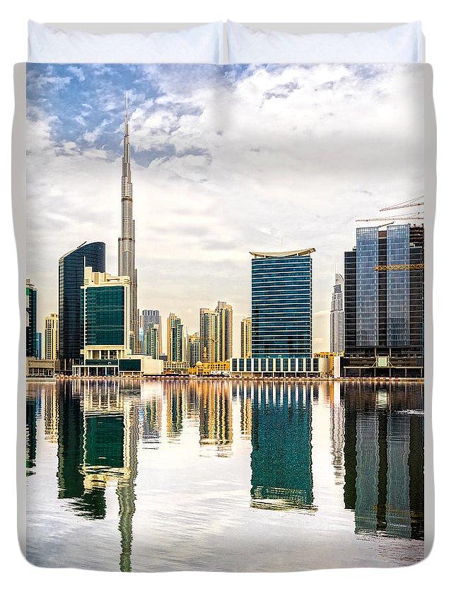 Dubai Duvet Cover featuring the photograph Dubai Downtown - by Luciano Mortula