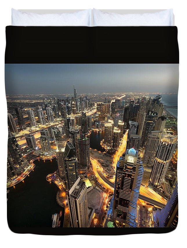 Dubai Duvet Cover featuring the photograph Dubai Marina Twilight by Robert Work