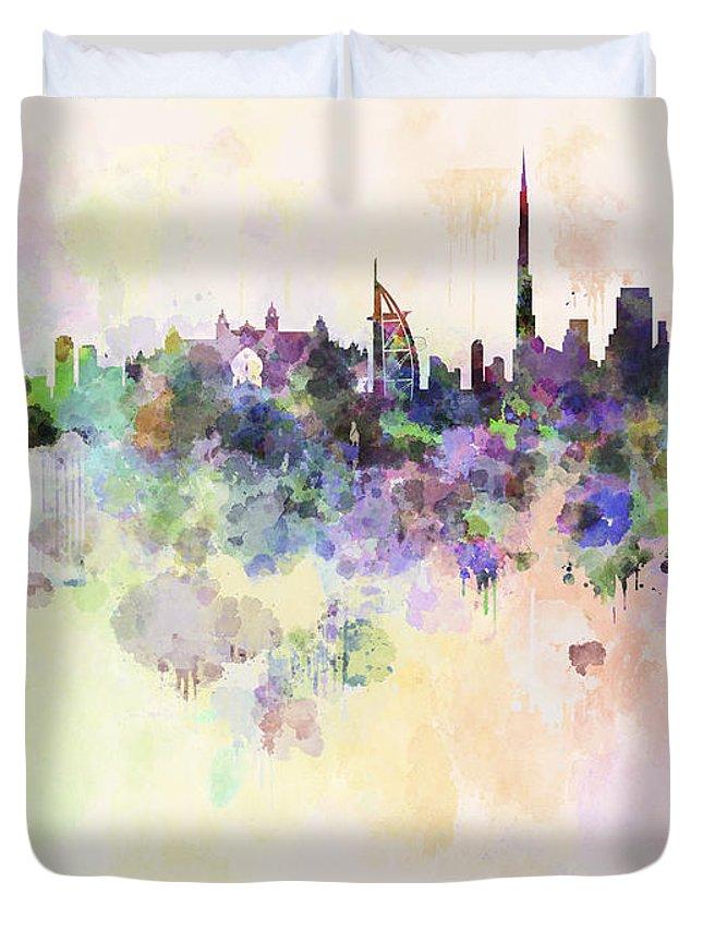 Dubai Skyline Duvet Cover featuring the digital art Dubai Skyline In Watercolour Background by Pablo Romero
