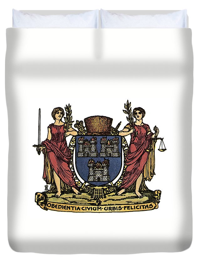 Allegory Duvet Cover featuring the painting Dublin Coat Of Arms by Granger
