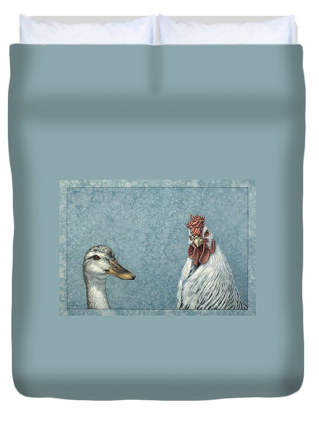 Duck Duvet Cover featuring the painting Duck Chicken by James W Johnson