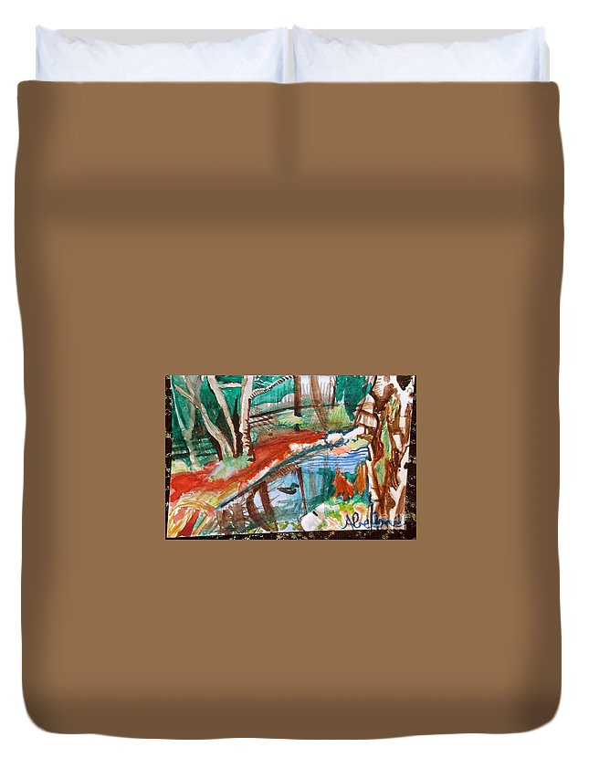 Duckpond Duvet Cover featuring the painting Duckpond by Abelone Petersen