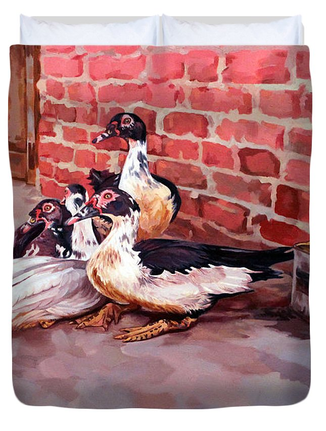 Ducks Duvet Cover featuring the painting Ducks by Ahmed Bayomi