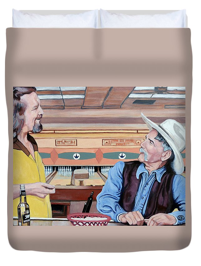 The Dude Duvet Cover featuring the painting Dude You've Got Style by Tom Roderick