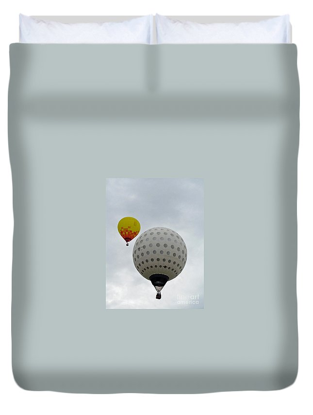 Hot Air Balloons Duvet Cover featuring the photograph Dueling Balloons 2 by Jamie Smith