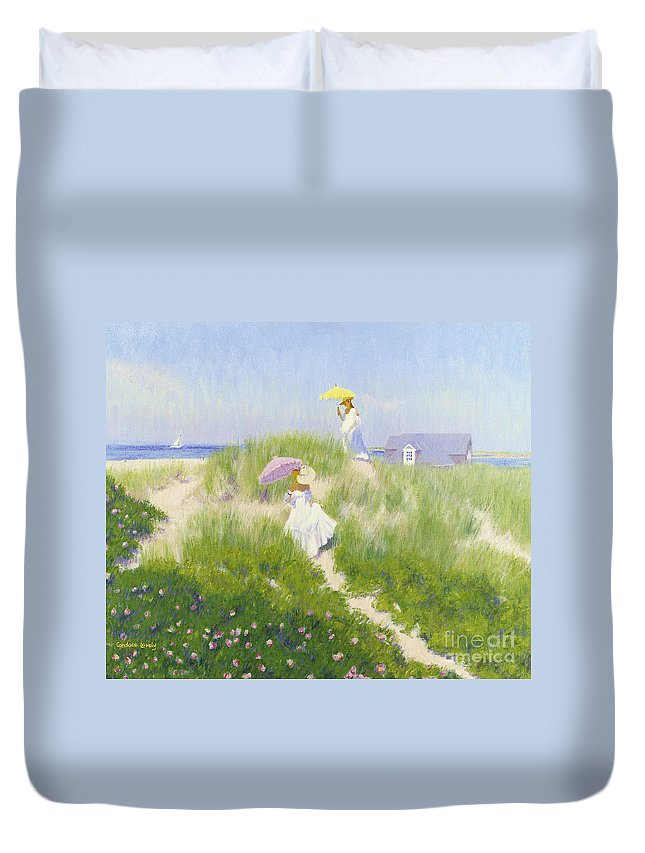 Nantucket Duvet Cover featuring the painting Nantucket Dune Pass by Candace Lovely