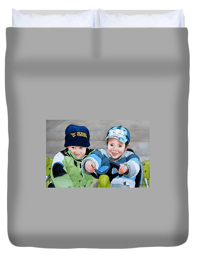 Children Duvet Cover featuring the painting Dune Racers by Jim Gerkin