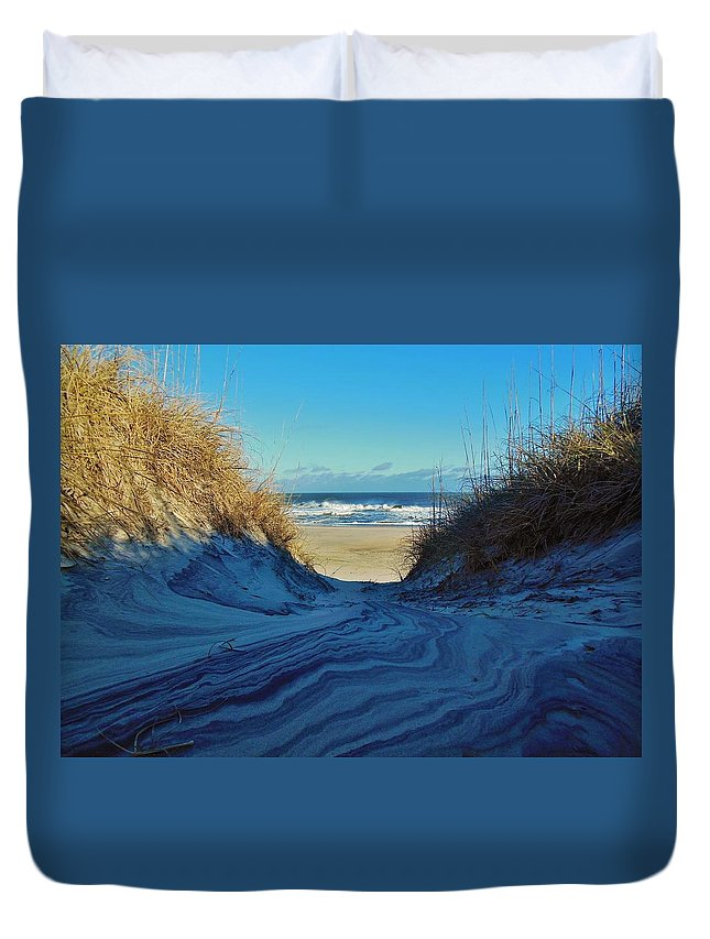 Mark Lemmon Cape Hatteras Nc The Outer Banks Photographer Subjects From Sunrise Duvet Cover featuring the photograph Dunes Sand Art By Mother Nature 2/08 by Mark Lemmon
