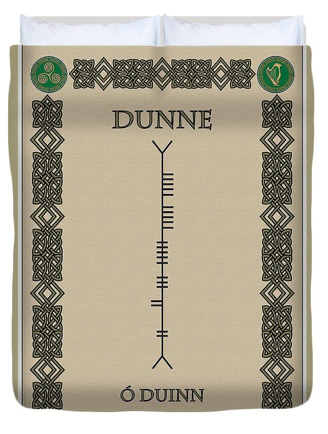 Dunne Duvet Cover featuring the digital art Dunne Written In Ogham by Ireland Calling